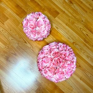 Two Light Blush Pink Faux Floral Balls